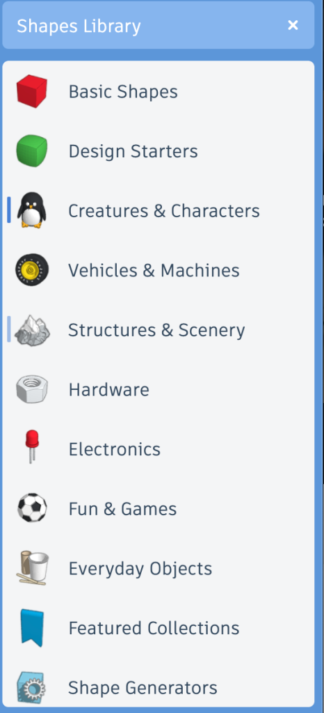 Tinkercad Shapes Panel